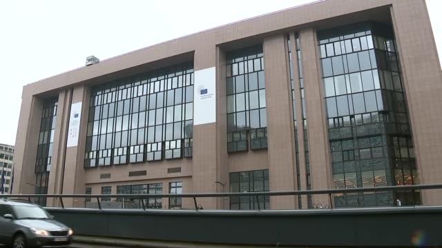 European Commission and European Council buildings general views BELGIUM Brussels EXT GVs Justus Lipsius building / EU council banner by windows /...