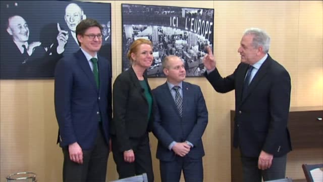 european commissioner for migration home affairs and citizenship dimitris avramopoulos meets with danish minister for immigration integration and... - europäische kommission stock-videos und b-roll-filmmaterial