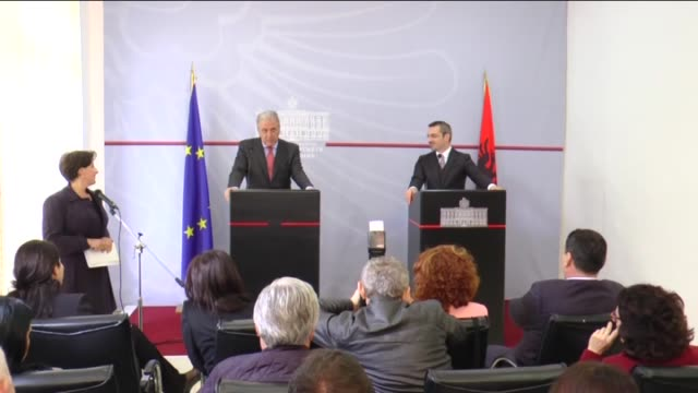 european commissioner for migration home affairs and citizenship dimitris avramopoulos and albanian interior minister saimir tahiri meet and hold a... - tirana stock videos and b-roll footage