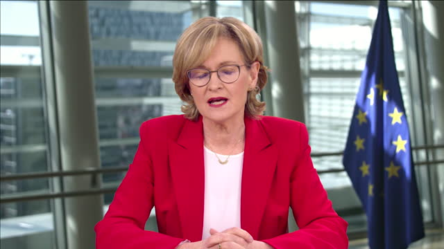 """european commissioner mairead mcguinness saying the commission will meet to decide on restricting vaccine rollout to the uk due to shortages in europe - """"bbc news"""" stock videos & royalty-free footage"""