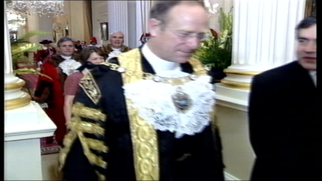 european constitution: tony blair under pressure; pool england: london: mansion house: int gordon borwn mp towards past with lord mayor of london,... - state dinner stock videos & royalty-free footage
