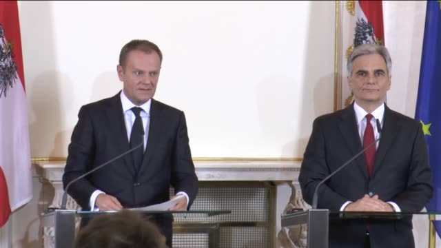 european council president donald tusk and austrian chancellor werner faymann attend a joint press conference after their meeting at the federal... - österreichische kultur stock-videos und b-roll-filmmaterial