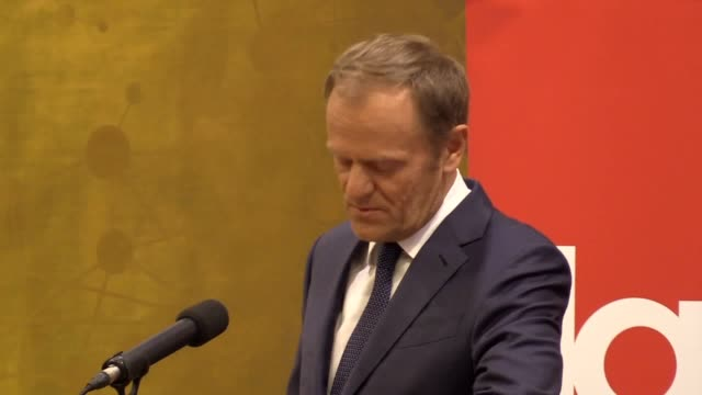 european council president donald tusk has said brexit makes him furious he also called on europe to unite during a speech at the ucd law society in... - brexit stock-videos und b-roll-filmmaterial