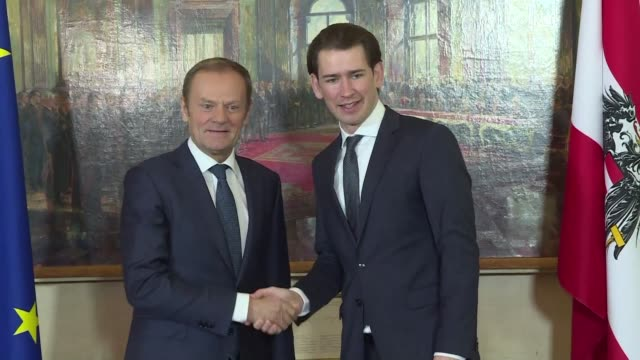 European Council President Donald Tusk meets Austrian Chancellor Sebastian Kurz to discuss Austria's six month presidency of the EU due to begin in...