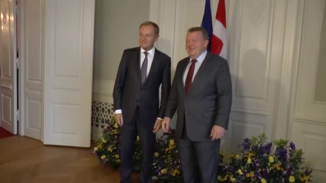 european council president donald tusk meets with danish prime minister lars lokke rasmussen in the prime minister's office at christiansborg castle... - prime minister stock videos & royalty-free footage
