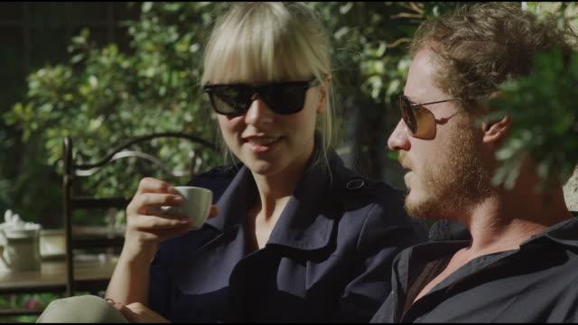 european couple having coffee - saignon stock videos & royalty-free footage