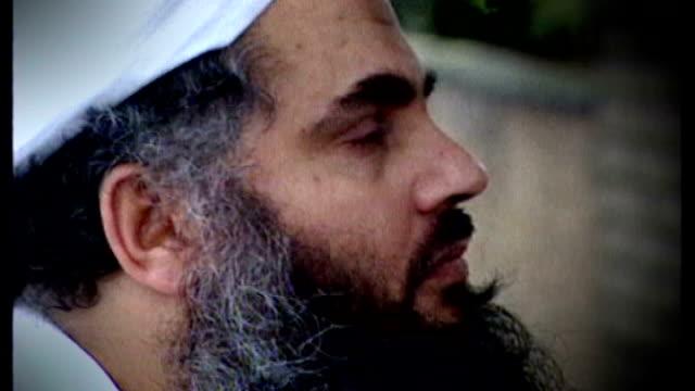 european court of human rights allow appeal of abu qatada against deportation date unknown close shot abu qatada graphicised seq abu qatada along - アブ クアタダ点の映像素材/bロール