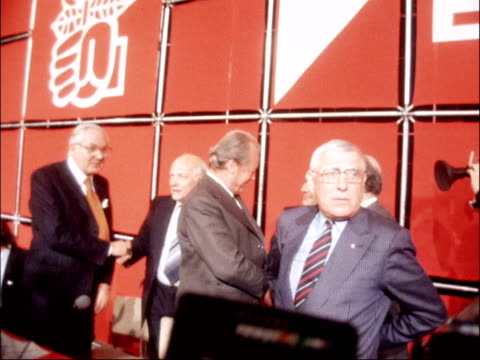 socialist leaders meet in paris france paris james callaghan from car and directed across road int callaghan greets willy brandt francois mitterrand... - chancellor stock videos & royalty-free footage