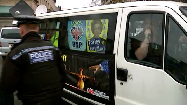 european election posters face racism accusations england yorkshire sheffield ext *** warniing crowd at unveiling of ukip european election poster... - poster stock videos & royalty-free footage