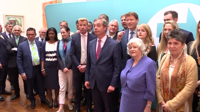 brexit party celebratory press conference / nigel farage speaking to press and cutaways; england: london: int nigel farage mep speaking to press at... - brexit party stock videos & royalty-free footage