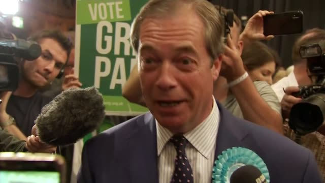 brexit party wins more meps than any other party in europe england hampshire southampton int nigel farage mep set up shot / speaking to press sot we... - itv lunchtime news stock videos and b-roll footage