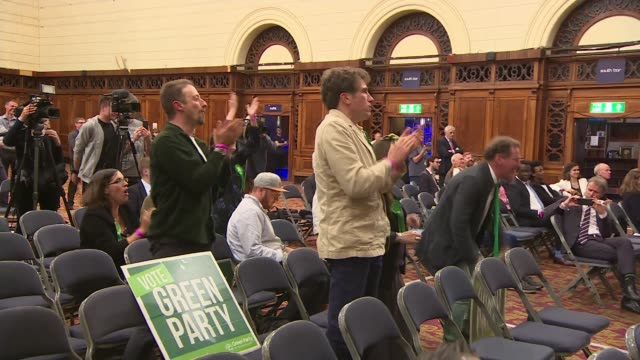 brexit party wins more meps than any other party in europe england hampshire southampton int green party supporters standing up and applauding sot - green party stock videos and b-roll footage