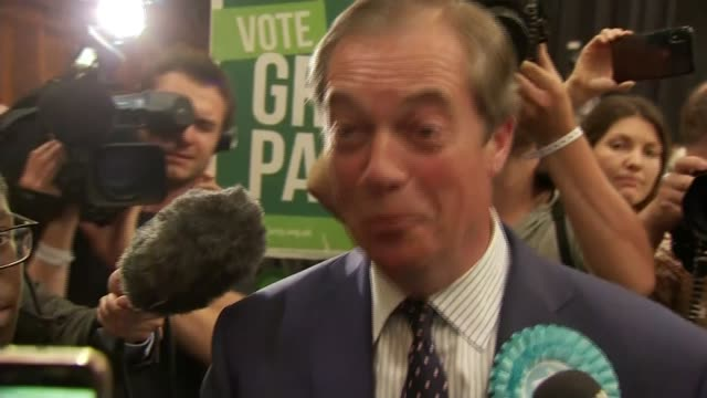 brexit party wins more meps than any other party in europe; england: hampshire: southampton: int nigel farage mep set up shot / speaking to press... - brexit party stock videos & royalty-free footage