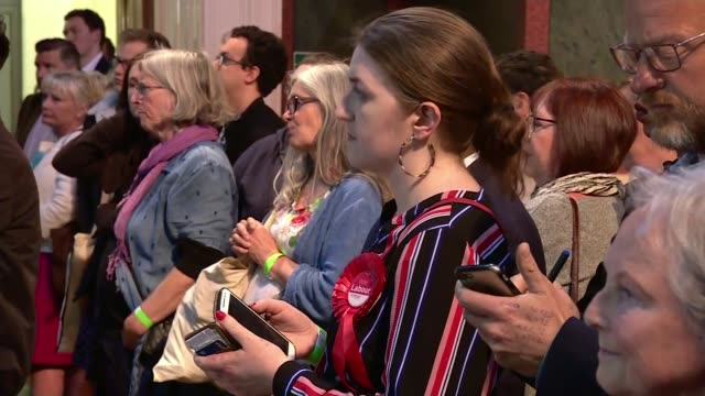 brexit party wins more meps than any other party in europe; england: int labour candidate looking at mobile phone labour candidate watching lord... - brexit party stock videos & royalty-free footage