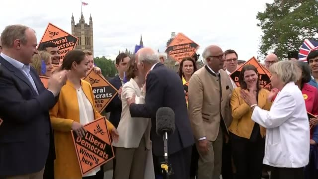 brexit party wins more meps than any other party in europe england london lambeth bridge ext vince cable mp speaking to press sot we now have a clear... - lambeth stock videos & royalty-free footage