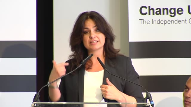 change uk rally england london int heidi allen mp qa session sot / allen and other change uk members standing up on stage to applause sot / - heidi allen stock videos & royalty-free footage