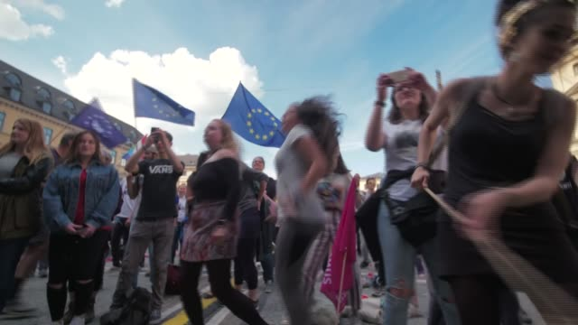 europe's traditional parties fighting back against populism germany munich ext **music heard sot** various shots of people dancing in square at... - populism stock videos and b-roll footage