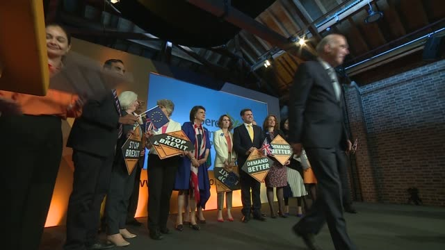 liberal democrats launch campaign england london int various of sir vince cable mp and liberal democrats european election candidates on platform at... - british liberal democratic party stock videos and b-roll footage