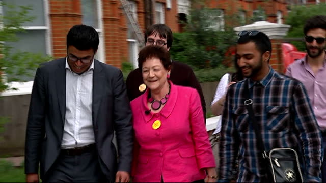 london campaigning / ukip carnival in croydon; reporter to camera baroness ludford mep along residential street with lib dem supporters baroness... - baroness stock videos & royalty-free footage
