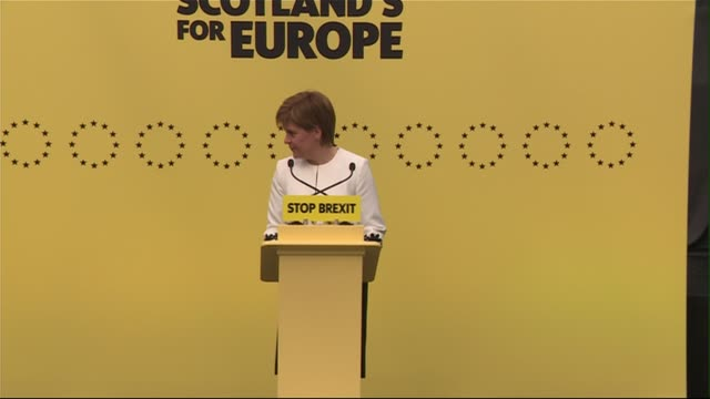 european elections manifesto launch; scotland: glasgow: int nicola sturgeon msp onto stage at the launch of the snp's european elections manifesto.... - member of the scottish parliament stock videos & royalty-free footage