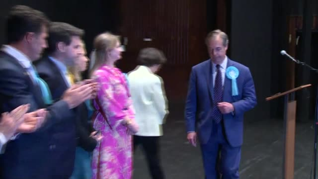 nigel farage attends south east region declaration in southampton; england: hampshire: southampton: civic centre southampton: european election south... - brexit party stock videos & royalty-free footage