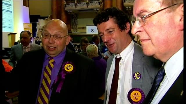 nigel farage hails ukip win as 'most extraordinary result in british politics for 100 years' england west yorkshire leeds int leeds town hall ceiling... - 英国独立党点の映像素材/bロール