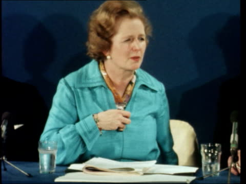 """press conference; a: england, london, smith square: top table conservatives press cms margaret thatcher sof: """"it's really... - トニー ベン点の映像素材/bロール"""