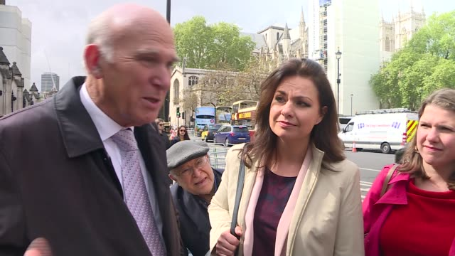 rush of election manifestoes launched england london westminster ext sir vince cable mp interview sot standing next to heidi allen mp cable and allen... - heidi allen stock videos & royalty-free footage