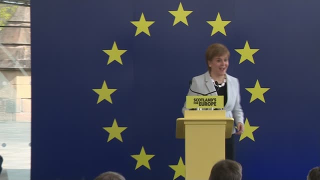 rush of election manifestoes launched; scotland: edinburgh: int nicola sturgeon msp arriving on stage at the launch of the snp's european elections... - nicola sturgeon stock videos & royalty-free footage