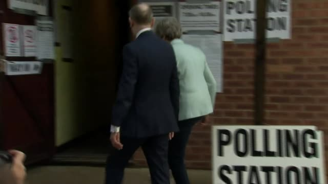 thousands of eu citizens in uk unable to vote in elections; england: berkshire: sonning: ext theresa may mp and her husband philip may arriving at... - biggin hill stock videos & royalty-free footage