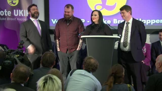 ukip campaign launch england london int kirstan herriot managing qa session sot / victoria macdonald asking question sot / carl benjamin answering... - eternity stock videos & royalty-free footage