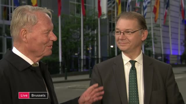 Voters abandon centrist parties as they turn to Green and Liberal parties BELGIUM Brussels EXT Philippe Lamberts and HansOlaf Henkel LIVE interview