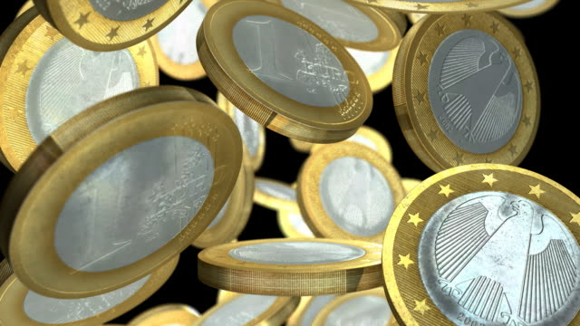 european euro coins falling slowly full width - european union coin stock videos & royalty-free footage