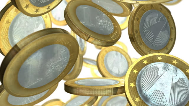 european euro coins falling slowly full width with white background - european union coin stock videos & royalty-free footage