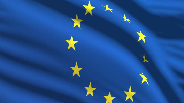 european flag waving in the wind with highly detailed fabric texture. seamless loop - flag stock videos & royalty-free footage