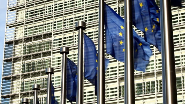 european flags in brussels - european union stock videos and b-roll footage