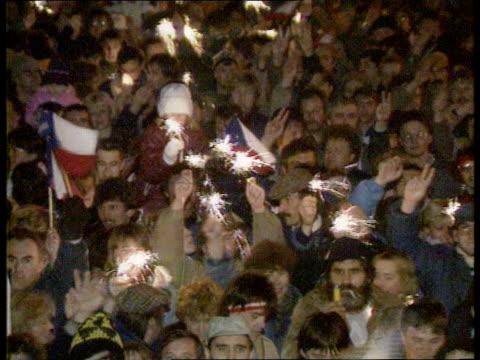 european identity lib crowds gathered in square during 'velvet revolution' - velvet revolution stock videos and b-roll footage