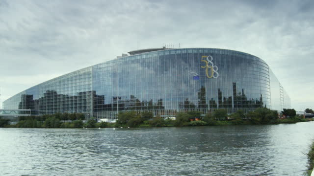 T/L, MS, European Parliament building across Marne-Rhine Canal, Strasbourg, France