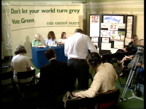 final day of campaigning Westminster Central Hall Green Party joint press conference with Green Party spokeswoman Lindsay Cooke elderly woman and...