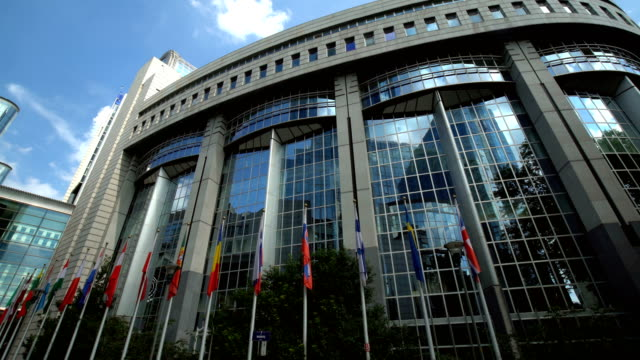european parliament in brussels, panning - government building stock videos and b-roll footage
