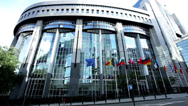 european parliament in brussels - parliament building stock videos & royalty-free footage