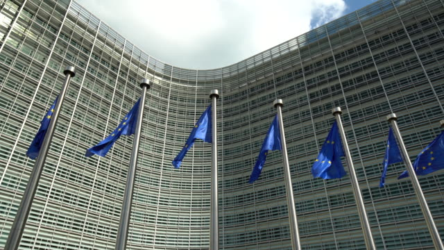 european parliament in brussels with flaggs - european union stock videos & royalty-free footage