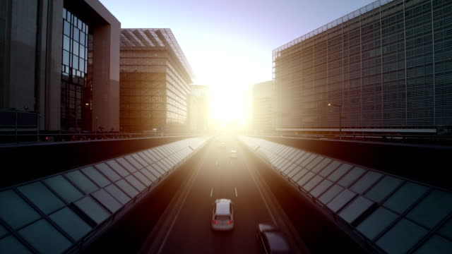 european quarter at sunset - regione di bruxelles capitale video stock e b–roll