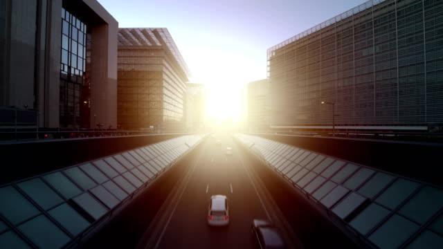 european quarter at sunset - ベルギー点の映像素材/bロール
