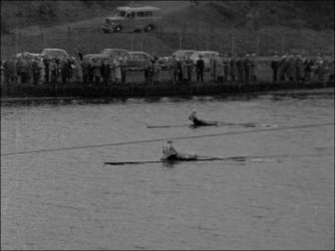 european rowing championships: men's coxless pairs; germany: duisburg: ext men's coxless fours race in progress / spectators watching / men's... - coxless rowing stock videos & royalty-free footage