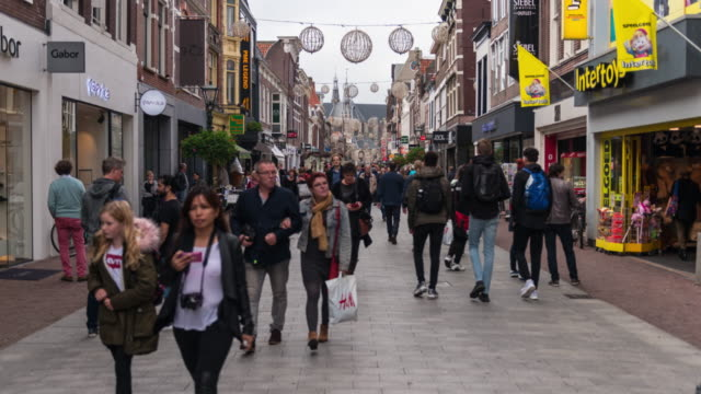 hyper lapse: european shopping street - high street stock videos & royalty-free footage