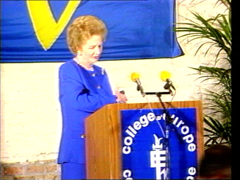 European Social Charter ITN LIB Bruges LA Thatcher exits RAF VC 10 descends steps College Of Europe TCMS SIDE Thatcher along onto dais as applause...