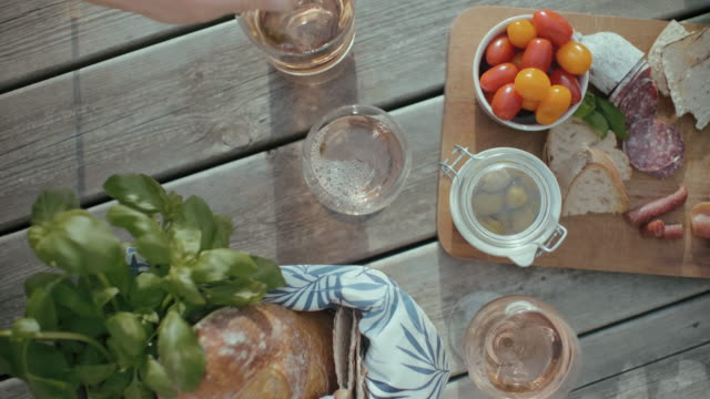 european style picnic out in the sun - gourmet french food stock videos & royalty-free footage