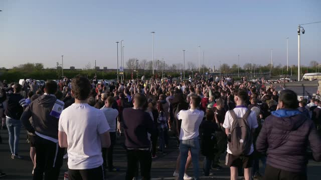 european super league: plans break down after most teams withdraw; england: west yorkshire: leeds: elland road: ext various of liverpool coach... - leeds stock videos & royalty-free footage
