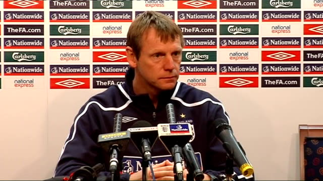 european under21 championship 2009 qualifiers england press conference ahead of wales playoff stuart pearce press conference sot on the upcoming... - first leg stock videos and b-roll footage
